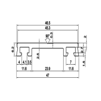 Aluminum profile rail with rubber (submachine)